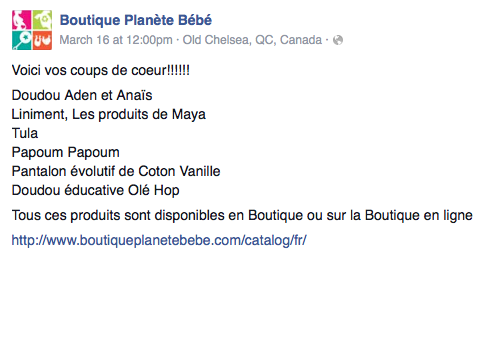 Boutique planate bebe
